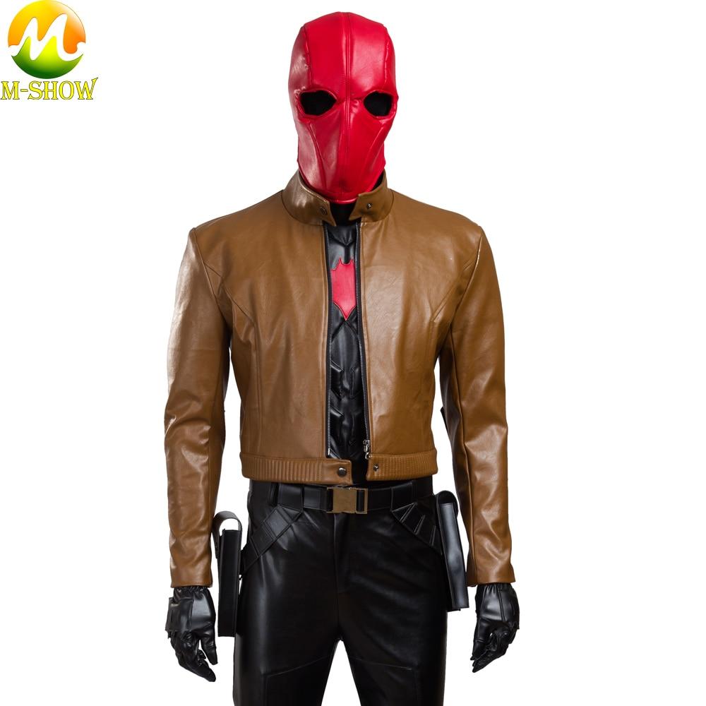 Free Shipping Batman Red Hood Cosplay Costume Jason Todd Halloween Cosplay Leather Jacket Coat Pants Custom