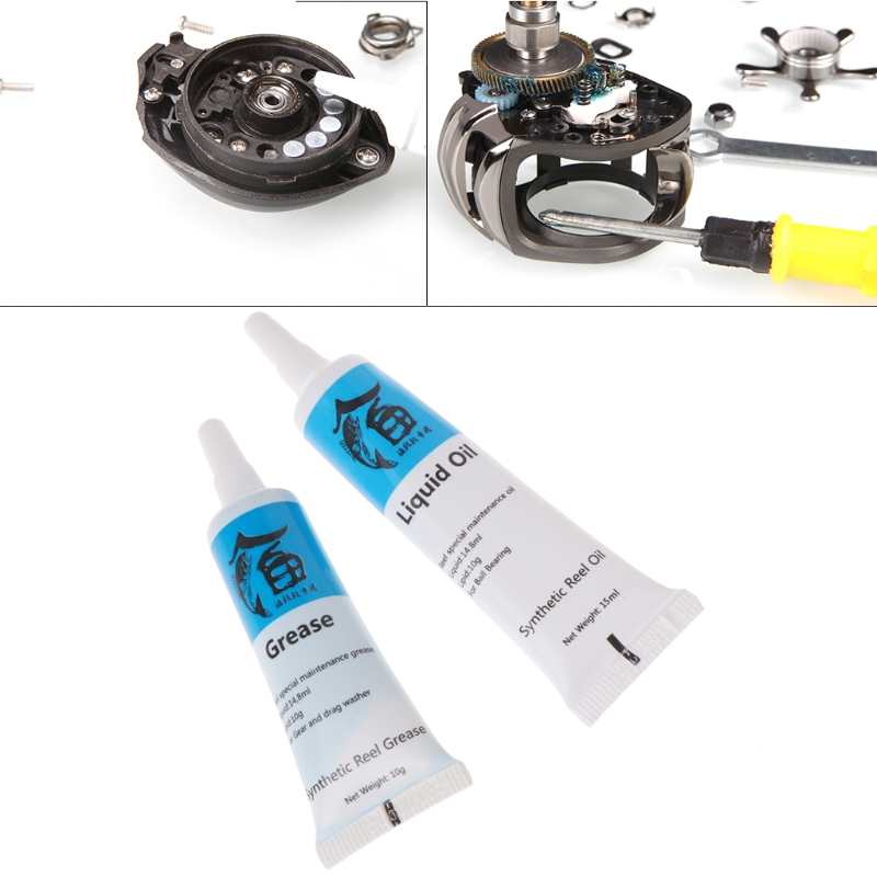 1Set Fishing Reel Lubrication Oil&Grease Lubricating Bearing Maintainence Supply