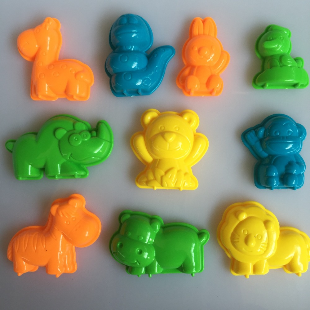 10 PCS / Set Animals Sand Clay Tool Beach Toys Novelty Pyramid Mold Building Model For Kids Child Baby Out Fun Toys On Holiday