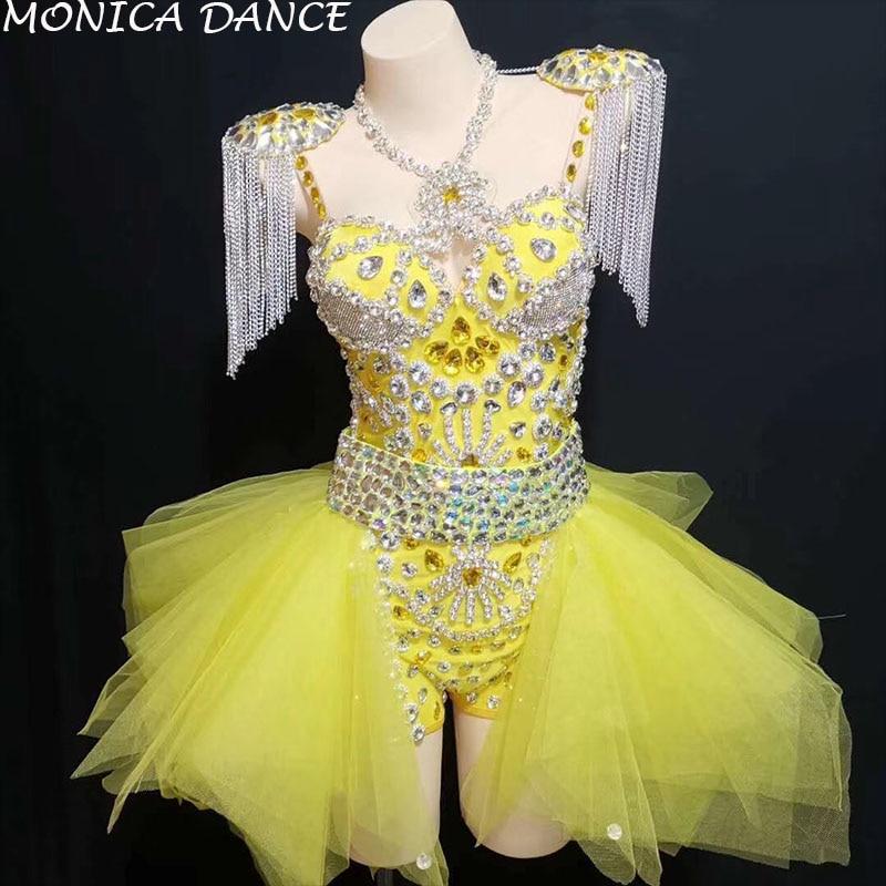 Femmes Sexy scène néon jaune strass tenue justaucorps jupe scène spectacle épaulettes danse porter des chaînes franges vêtements ensemble