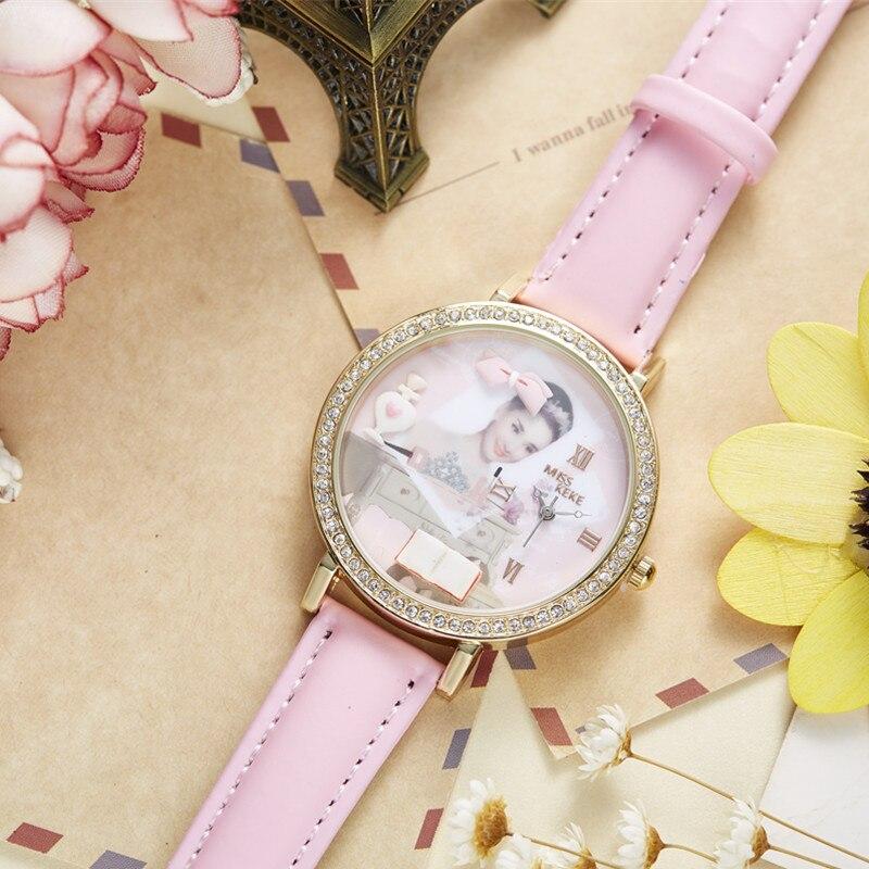 Miss Keke 3d Clay Cute Audrey Hepburn Theepot Strass Horloges Vintage - Dameshorloges - Foto 6