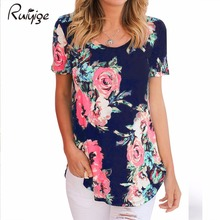 2017 Ruiyige Floral Print Vintage Blouse Short Sleeve Plus Size Tops Beach Holiday Casual Women Summer Femme XXL Retro Blusa