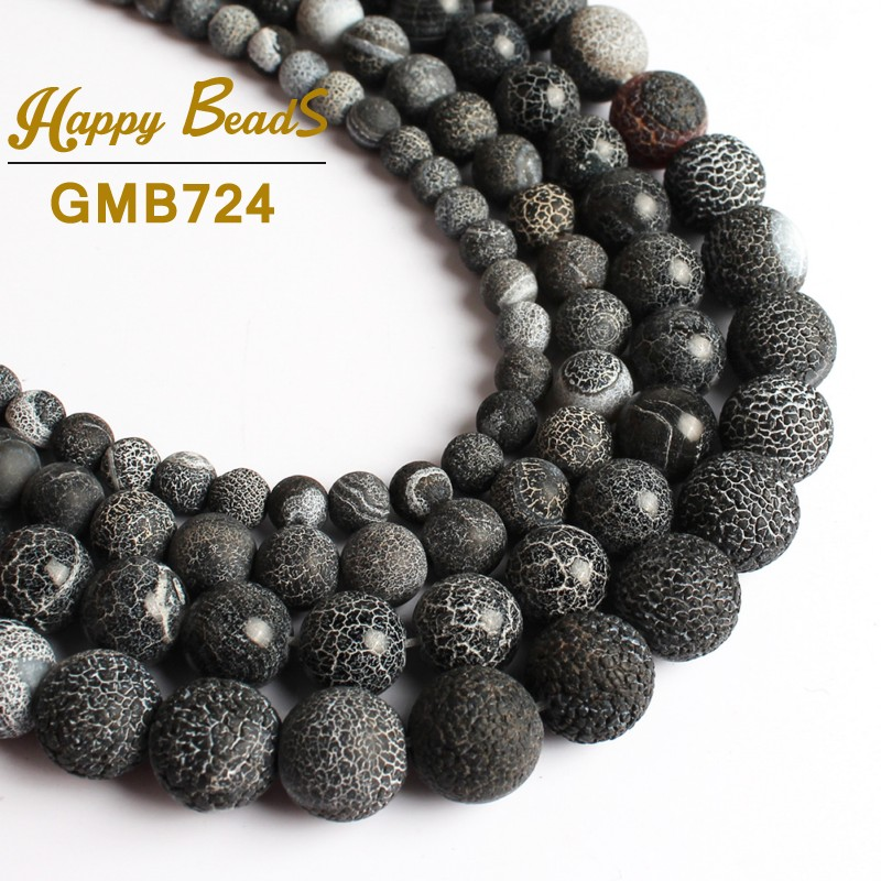 Beads Hot Sale 6 8 10 12mm Black Fire Agates Stone Round Loose Beads For Jewelry Making Diy Bracelet Necklace 15inch/strand Wholesale