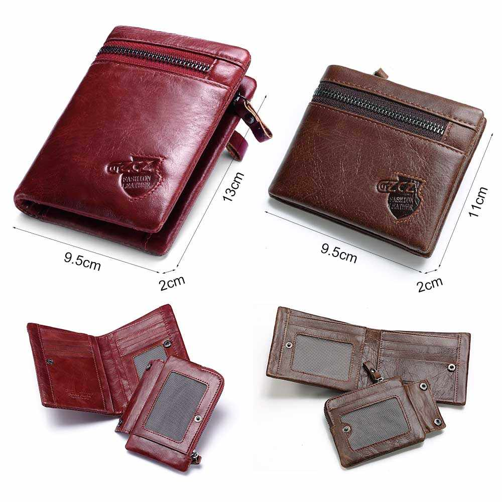 ... GZCZ 100% Genuine Leather Men Wallet Zipper Men Wallet Portemonnee Gift  Male Short Coin Purse ... 88db25f10ac8