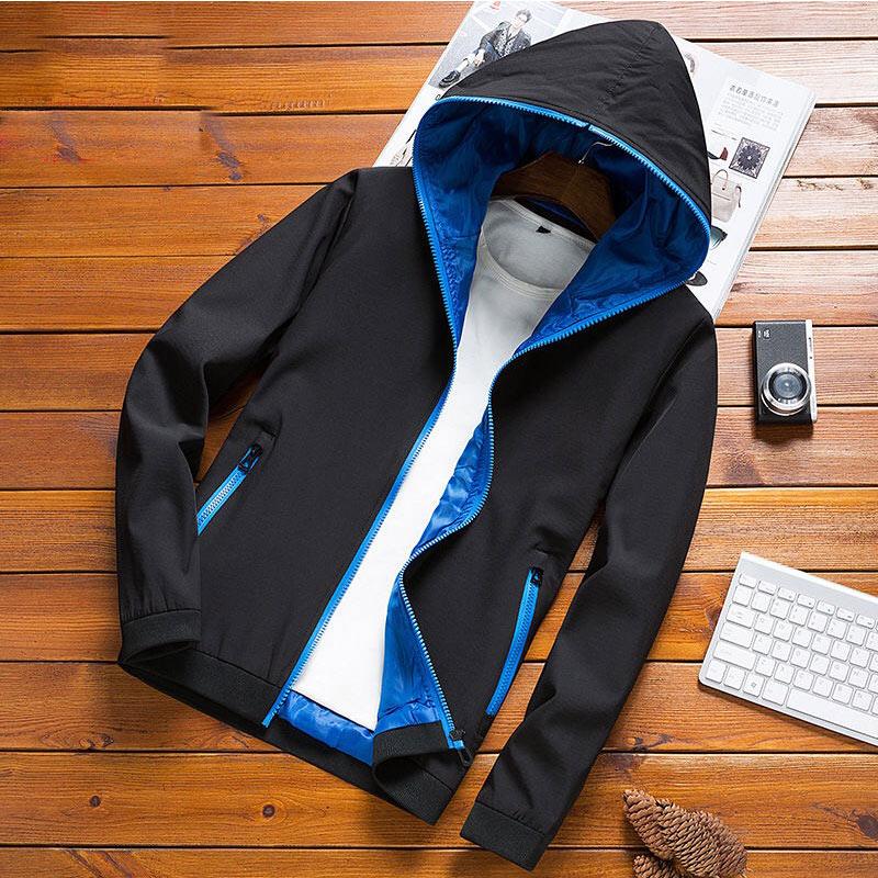 9d42bcb42cc2 New Spring Autumn Bomber Hooded Jacket Men Casual Slim Patchwork Windbreaker  Jacket Male Outwear Zipper Thin Coat Brand Clothing