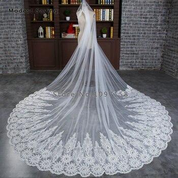 057f362e3 Alta calidad blanca elegante 3 M lentejuelas velos de novia de encaje 2018  con peine Crystal iglesia catedral velos de novia voile de mariee