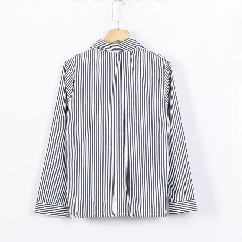 Your Parcel Store Formal blouses Long Sleeve Button Down Women's Shirt Vertical Striped Chiffon Pocket Career Outwear Tops