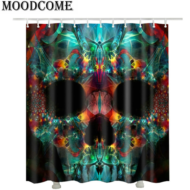 Art Bathroom Shower Curtain Skull 3D With Hooks 2017 Punk Shower