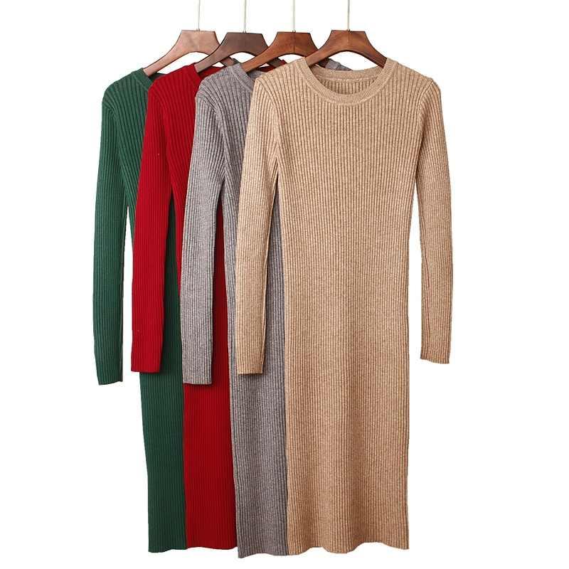 GIGOGOU толстое теплое Женское зимнее платье длинное тонкое трикотажное платье осеннее с круглым вырезом до середины икры женское платье-свитер