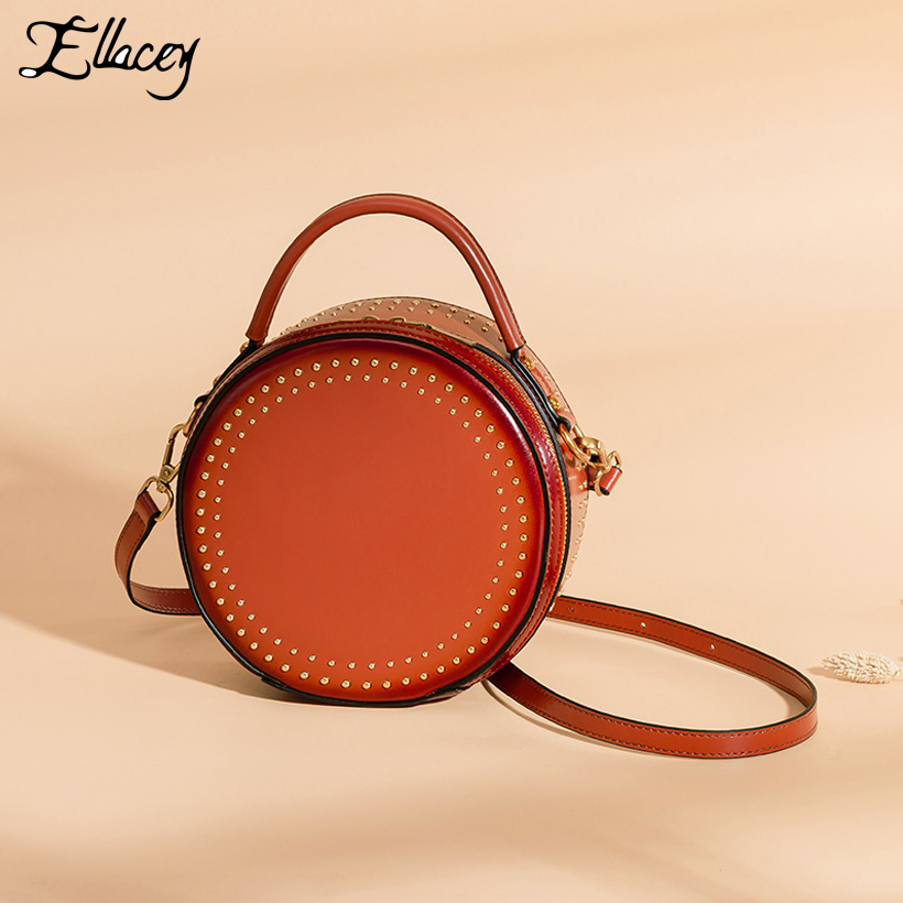 New 2019 Cow Split Leather Circular Bags Women Rivet Vintage Messenger Bag Small Handbag Round Mini Shoulder Crossbody BagsNew 2019 Cow Split Leather Circular Bags Women Rivet Vintage Messenger Bag Small Handbag Round Mini Shoulder Crossbody Bags