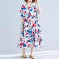 F&je Plus Size Women Dresses Summer Loose Batwing Sleeve Leaf Print Vintage Long Dress cotton linen Large Female Vestidos Y8111