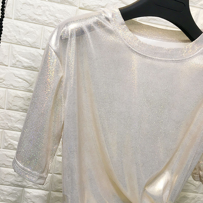 HTB1biwvV4naK1RjSZFtq6zC2VXas - New summer retro style stylish bright silk woman tops shiny loose short sleeve t-shirt sexy club aesthetic harajuku women tshirt