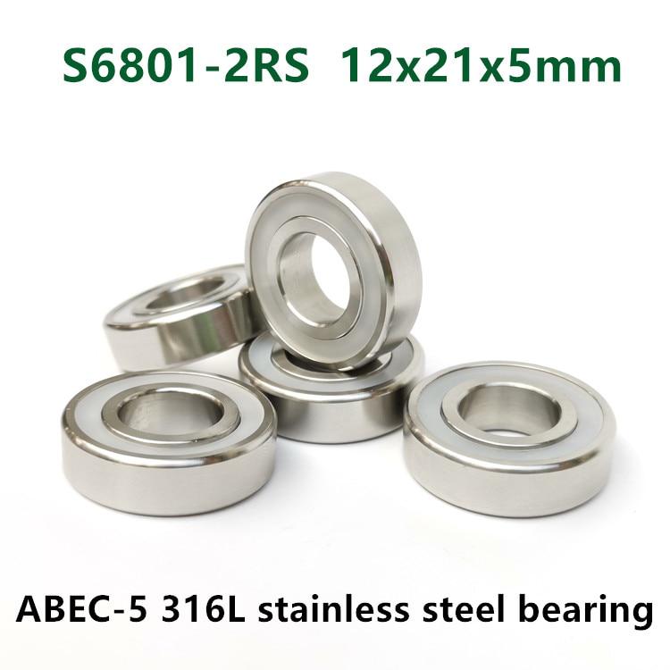 10 Miniature Bearing 6801-2RS 12mm x 21mm x 5 Bearings