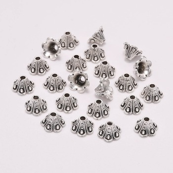 50pcs/Lot 8mm Tibetan Antique Flower Loose Spacer Bead Caps Cone End Beads Cap Filigree For DIY Jewelry Finding Making