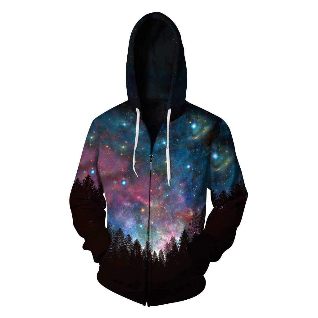Midnight Starry Sky Hoodie 3D Sweatshirt Men Hip Hop Hooded Sweatshirts Casual Space Stars Print Tracksuit Plus Size Streetwear
