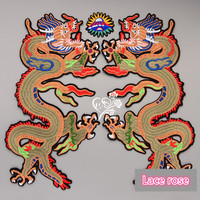 Dragon embroidered applique patches for clothing iron on sewing vintage fabirc patch fashion decoration motif patch accessories