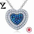 Necklace 925 Sterling Silver Blue Light Cubic Zirconia Pendants for Woman Collares Mujer Heart Necklaces Chain Vintage Female
