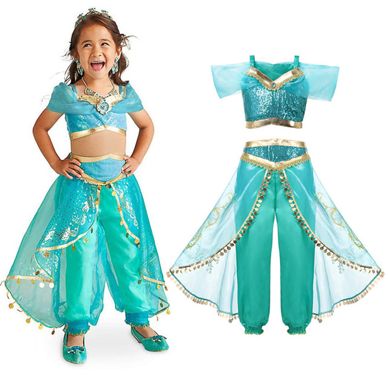 Girls Jasmine Costumes Children's Dress Aladdin's Lamp Cosplay Costume Kids Princess Fancy Dress Up Party Costume Sets Halloween