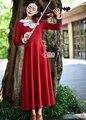 O Envio gratuito de Alta Qualidade Outono Inverno New Arrival Estilo College Pater Pan Collar Manga Comprida Lace Decorado Vestido Longo Vermelho
