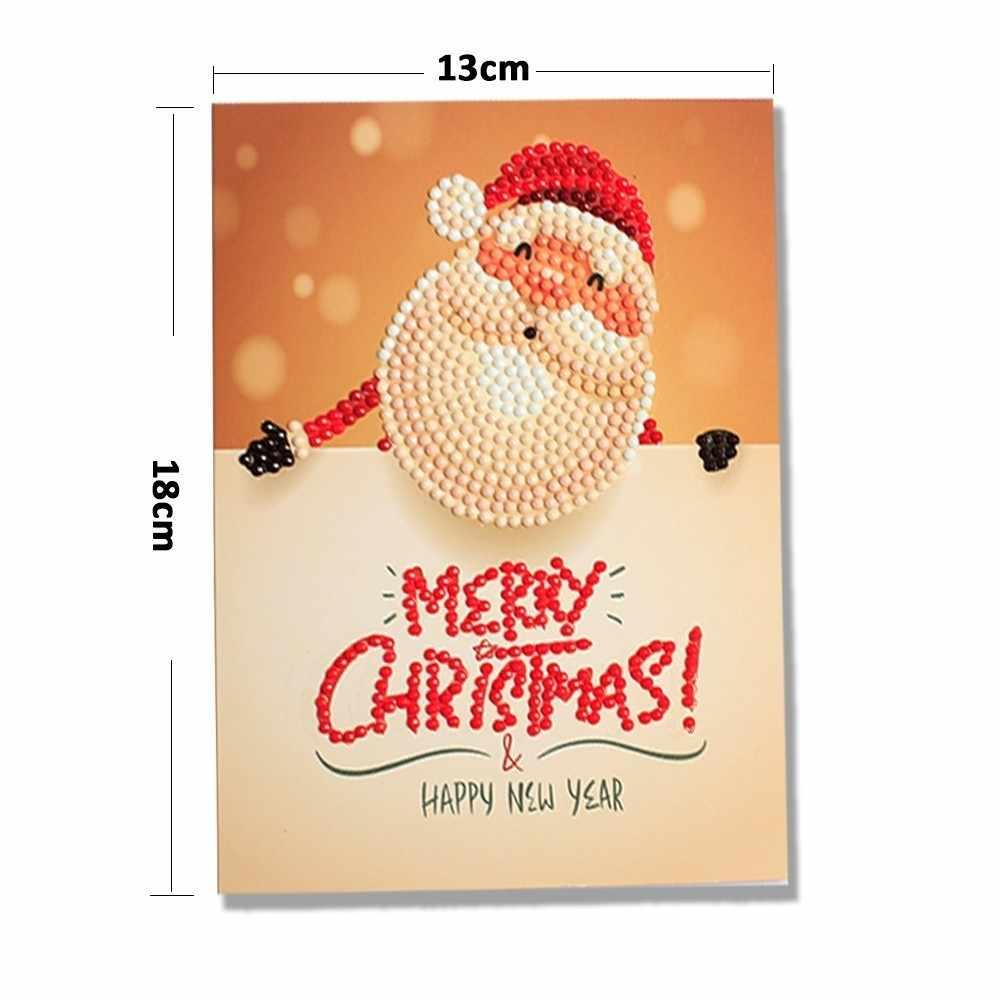 Christmas Postcards.Evershine Diamond Painting Christmas Cards Cartoon Mini Santa Claus Greeting Postcards Diy Kids Hobby Festival Greet Cards Gift