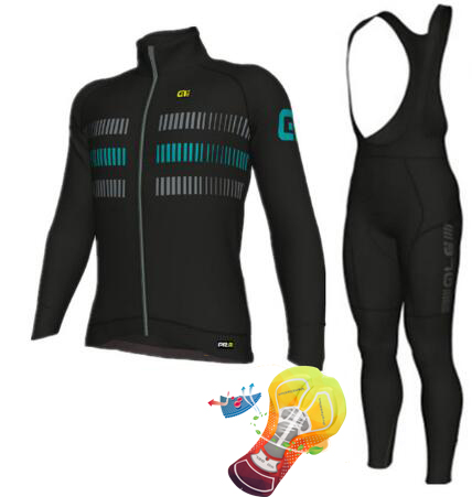 16D Silicone! 2018 ale team long sleeve cycling jerseys+bib pants bike bicycle thermal fleeced wear set+gel pad 3d silicone cube 2012 team long sleeve autumn bib cycling wear clothes bicycle bike riding cycling jerseys bib pants set