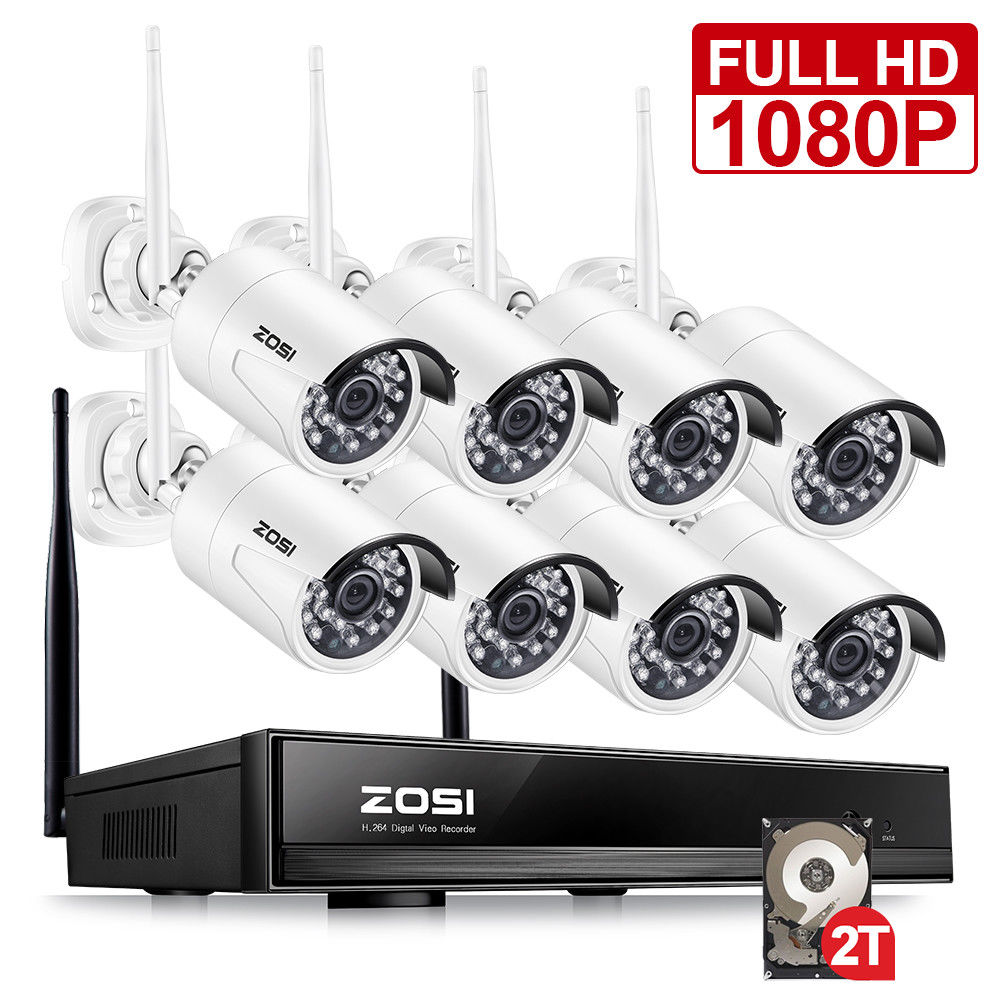 ZOSI 1080P Wireless CCTV System 2TB HDD 2MP 8CH Powerful NVR IP IR CUT Bullet CCTV