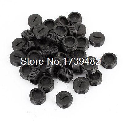 18 Pcs 10mm Dia Male Threaded Black Plastic Motor Carbon Brush Holder Cap Cover