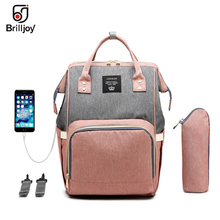 Brlljoy Mummy Bags Maternity Travel Backpack USB Baby Diaper Bags Large Nappy Bag Upgrade Waterproof Nursing for Mom New baby diaper bag with usb interface large baby nappy changing bag mummy maternity travel backpack for mom nursing bags