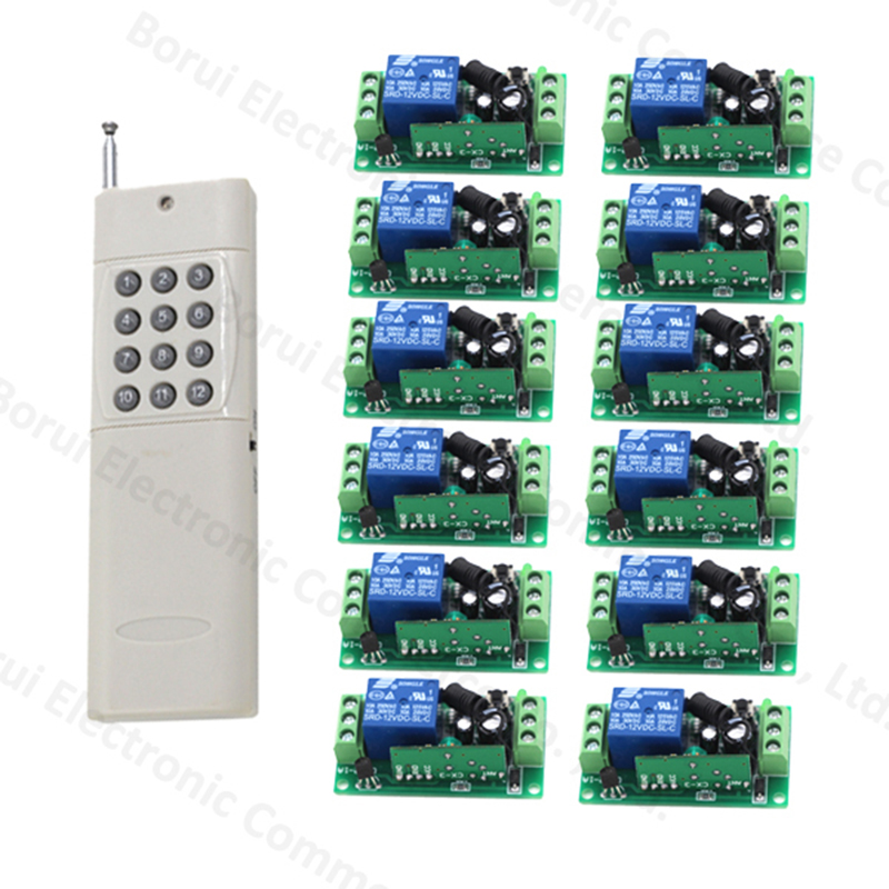 цены DC 12V Wireless Remote Control Switch 1CH RF Remote Switch System 12ch transmitter + 1ch receiver