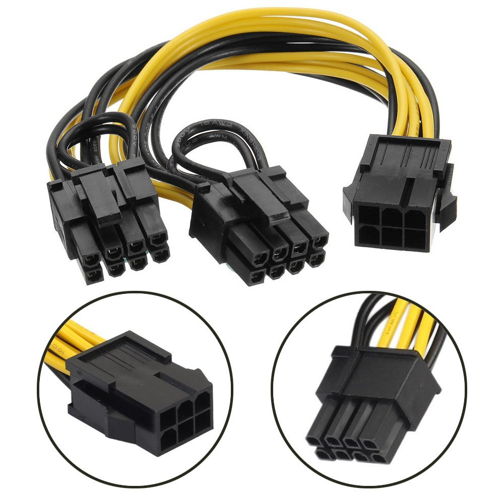 6 Pin To Dual PCIe 8 Pin (6+2) Graphics Card PCI Express Power Adapter GPU VGA Extension Cable Mining Card Power Cable