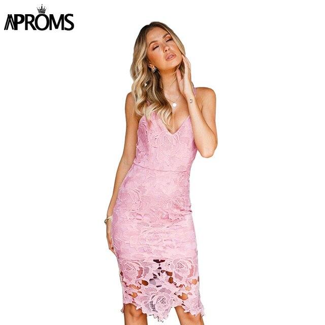 Aproms Sexy Back Split Strap Dress Women Lace V Neck Casual Dress ...