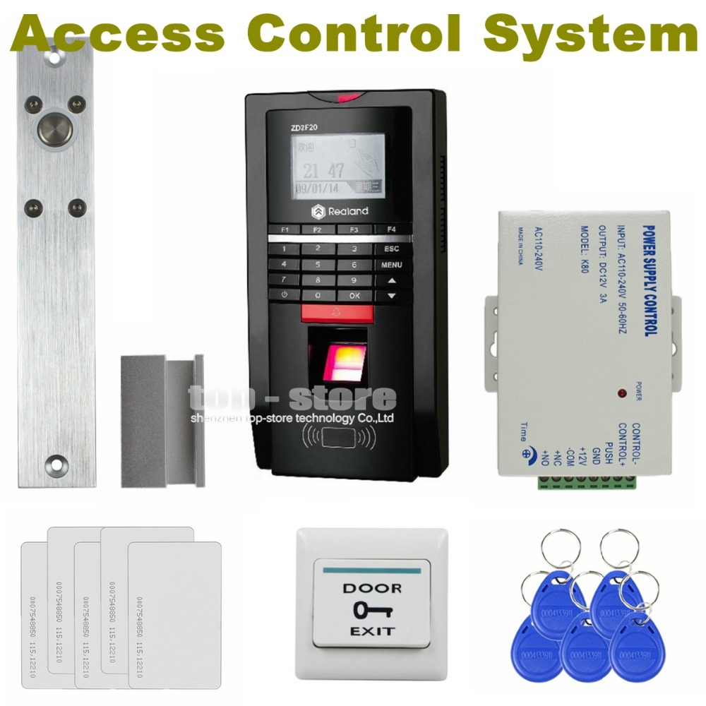 DIYSECUR Full Kit Set Fingerprint Id Card Password Keypad Door Access Control System Kit + Electric Bolt Lock For Office / House