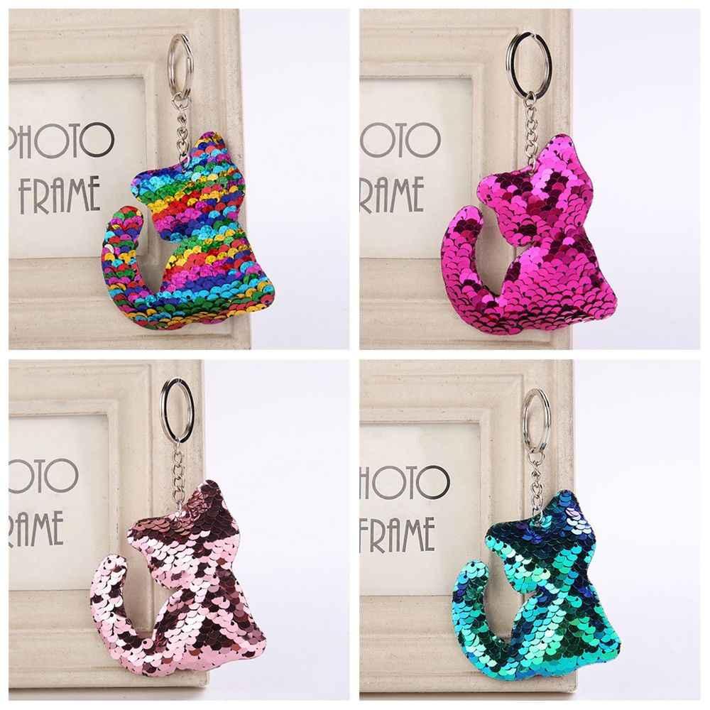 Femmes Sequin pendentif Animal porte-clés motif de chat porte-clés sac à main porte-clés sirène paillettes porte-clés bijoux sac accessoires