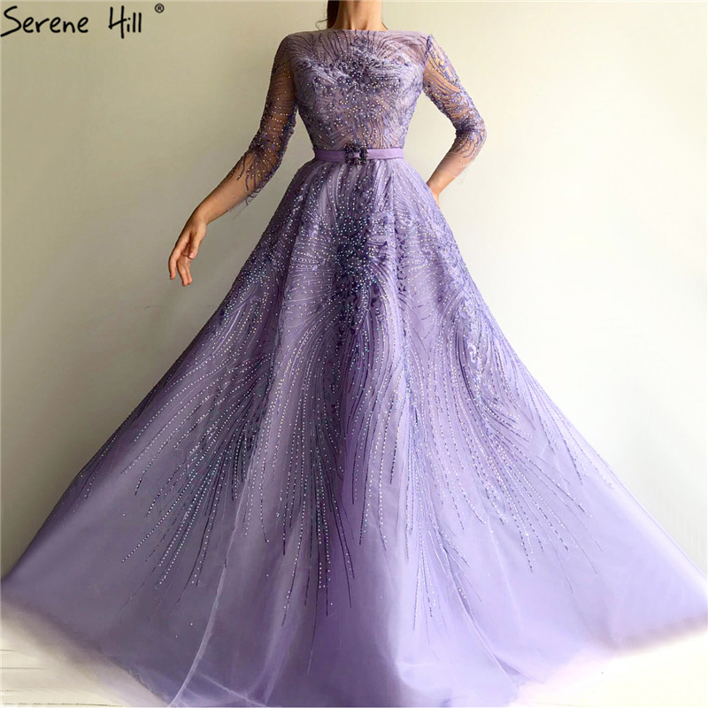 Purple O-Neck Crystal Sashes A-Line Evening Dresses 2019 Long Sleeves Sexy Tulle Evening Gowns Long Serene Hill LA70138