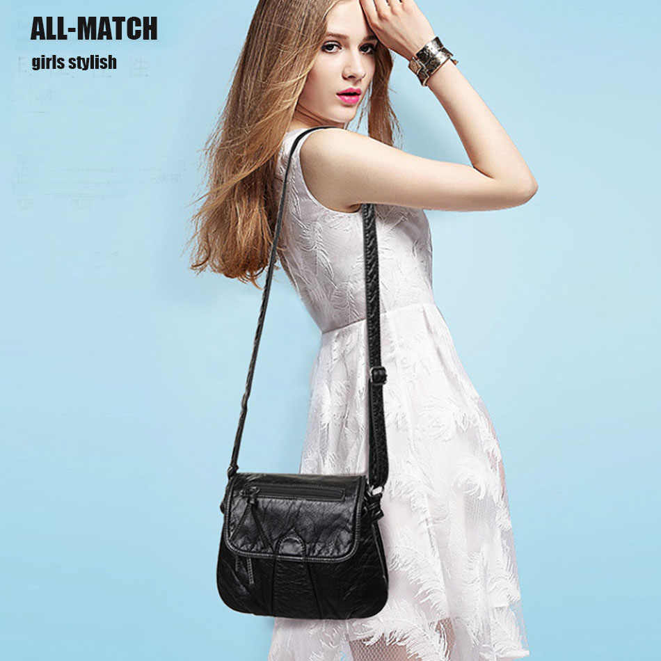 Женская кожаная сумка через плечо, маленькая, простая, высокого качества