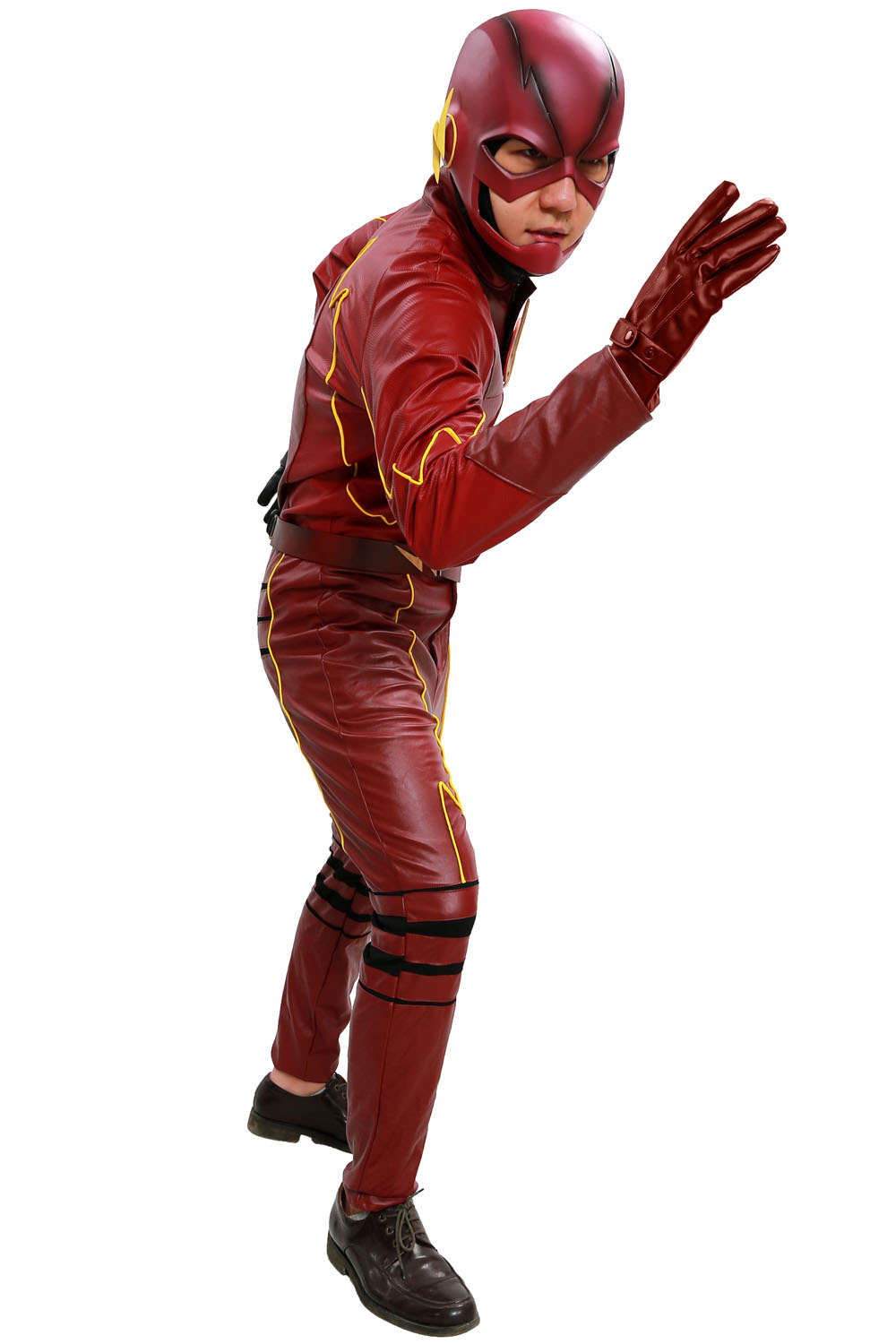 The Flash Costume Season 2 Suit Deluxe Red Leather Outfit With Chest Badge Barry Allen Cosplay Adult Christmas Disfraces Adultos