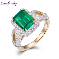 LOVERJEWELRY Women Rings Hot Sale 2.55Ct Natural Diamond Emerald Ring Solid 14Kt Yellow Gold Ring Emerald Jewelry For MOM Gift