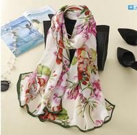 100 Natural Silk Long Scarf Summer Female Shawl Women Luxury Brand Geranium Mulberry Wraps Plus Size