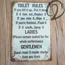 Toilet Rules Metal Sign Bar Pub Cafe Home Wall Decoration Shabby Chic Wall Art 20*30 cm Vintage Home Decor Tin Plate