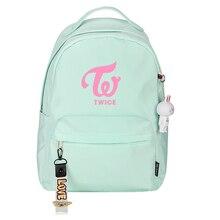 Korean Group TWICE Girl Pink Backpack Candy Color Women Daypack Nylon School Bags for Teenage Girls Mochila Feminina Rugzak