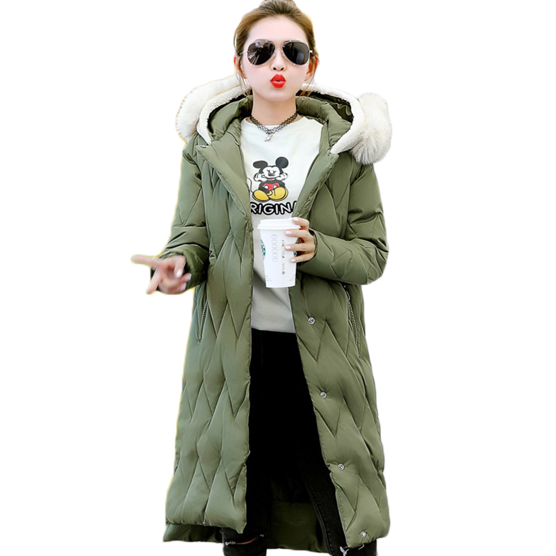 Women Winter Coat Green Cotton Full Sleeve Fur Collar Warm Parkas Female Overcoat Solid Color Plus Size Fashion Hooded Jacket binyuxd women warm winter jacket 2017 fashion women hooded fur collar down cotton coat solid color slim large size female coat