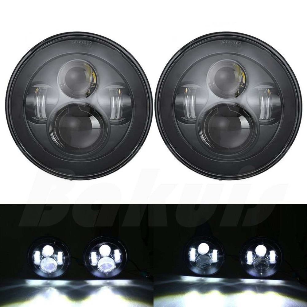 2pcs 7 Inch Round LED Headlights Bulb Lamp H4 H13 Projection Headlight Kit for Jeep Wrangler JK TJ LJ For Hummer H1