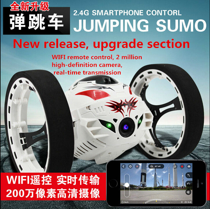 цена на 2016 Newest Boy Fashion Gift upgrade version Bounce RC Stunt Car 4CH 2.4GHz Jumping Sumo Remote Control with 2.MP HD wifi camera