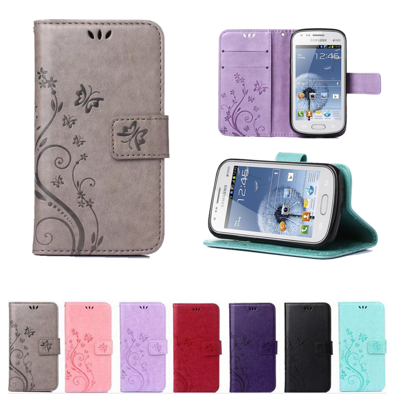 Butterfly Pattern Wallet Leather Phone Case For Samsung Galaxy S Duos S7562 GT-S7562 7562 Trend Plus S7580 S7582 TPU Back Cover