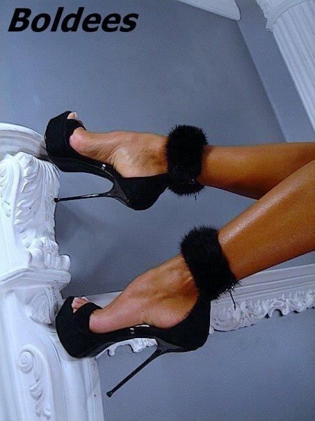 Boldees Elegant Black Suede Faux Fur Ankle Wrap Stiletto Heels Dress Shoes Stylish Women Open ToePlatform Super High Heel Sandal msk women s beaded shoulders cowl faux wrap jersey dress 12 black white