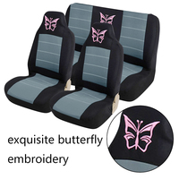 Dewtreetali 8pcs Car Seat Covers Universal Embroidery Car Seat Protector Front Rear Seat Interior Auto Decoration