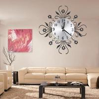 2019 Vintage Metal Art Wall Clock Luxury Diamond Large Wall Cocks Needles Watch Morden Flower Design Home Wall Decor Accessories