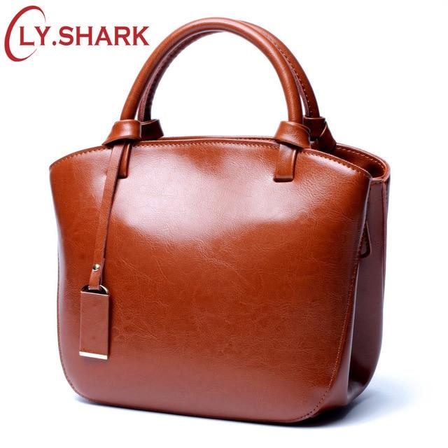 LY SHARK Luxury กระเป๋าถือผู้หญิงกระเป๋าออกแบบกระเป๋าหนังแท้กระเป๋าหนังผู้หญิงกระเป๋าถือหญิงไหล่ Messenger กระเป๋า 2019-ใน กระเป๋าหูหิ้วด้านบน จาก สัมภาระและกระเป๋า บน   1