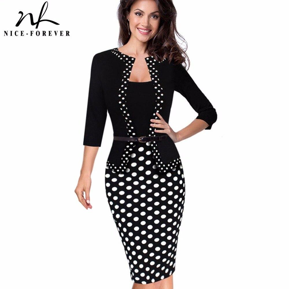 Nice-forever One-piece Faux Jacket Retro Contrast Polka Wear To Work Business Vestidos Office Bodycon Women Sheath Dress B407