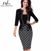 Nice Forever One Piece Faux Jacket Retro Contrast Polka Wear To Work Business Vestidos Office Bodycon